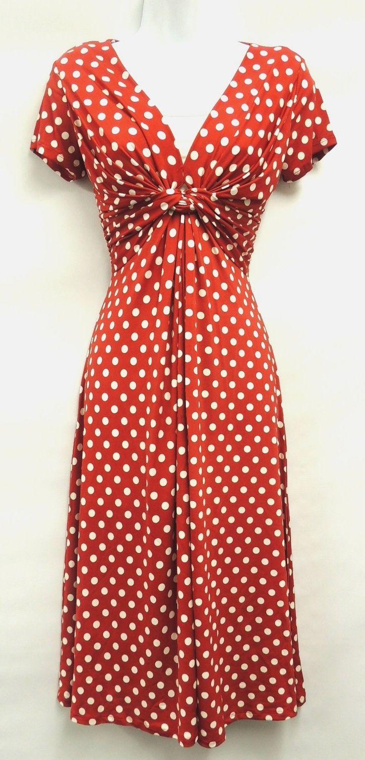 New Ladies Red Deco Polka Dot Vtg Retro WW2 Land girl 1940s/50s Pin-up Tea Dress
