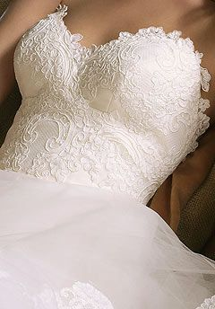 Lace sweetheart neckline - fitted.