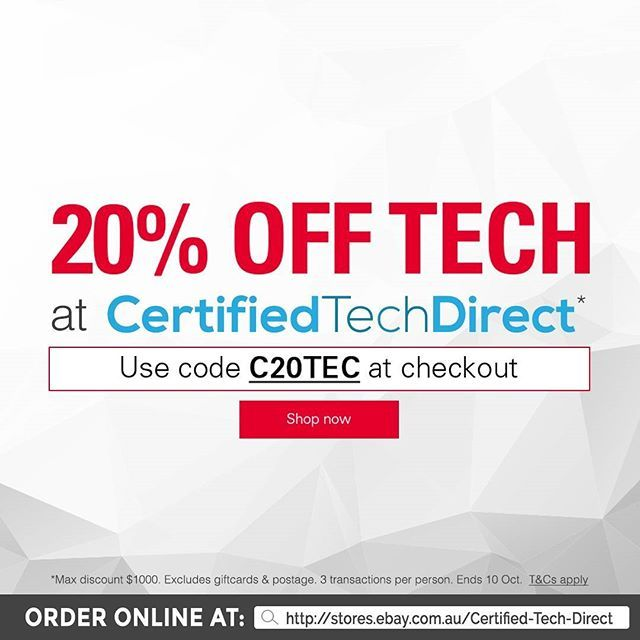 Get everything on your tech wish list today! Just shop at our eBay store, and use the discount code C20TEC upon checkout and get 20% off* on your order. Excludes giftcards and postage. Max of $1,000 discount per transaction. Terms and conditions apply.  #sale #ebay #ebaysale #tech #techsale #iphone #androidphone #ipad #samsung #newtech #iloveshopping #shopping #onlineshopping