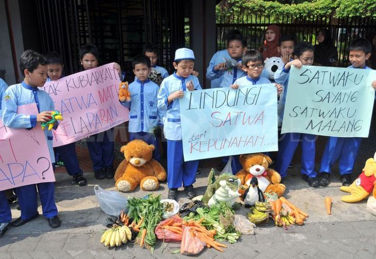 Children hold an animal welfare rally at the Surabaya Zoo