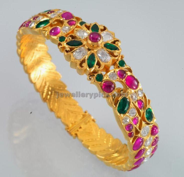 uncut ruby emerald gold bracelt