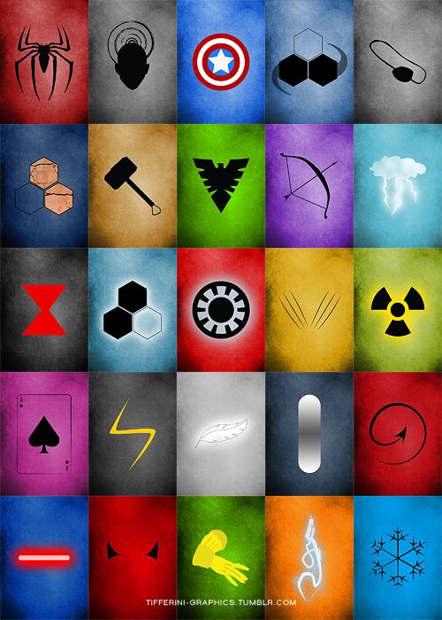 Marvel Minimalist Icons: Spiderman, Professor X, Captain America, Mr. Fantastic, Nick Fury, The Thing, Thor, Jean Grey (Phoenix), Hawkeye, Storm, Black Widow, Invisible Woman, Iron Man, Wolverine, The Hulk, Gambit, Ms. Marvel, Angel, The Silver Surfer, Nightcrawler, Cyclops, Daredevil, Rogue, Dr. Strange, Iceman | yeah but, where's Scarlet Witch?