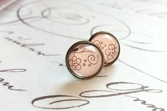 Light pink stud earrings Pink bridal jewelry by JewelryFairyGift