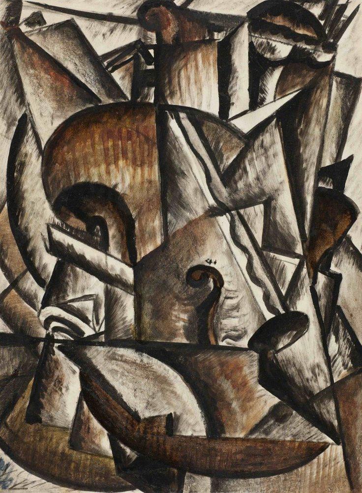 Михаил Соколов  Натюрморт со скрипкой из серии Музыкальные-инструменты. 1916-1918
