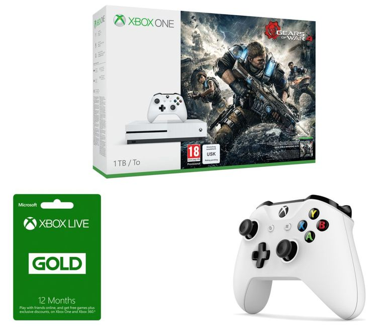 MICROSOFT  Xbox One S, Gears of War 4, Xbox Wireless Controller & Xbox Live Gold 12 Month Subscription Bundle, Gold Price: £ 364.99 Show your power in battle with the Microsoft Xbox One S, Gears of War 4, Xbox Wireless Controller & Xbox Live Gold 12 Month Subscription Bundle . _____________________________________________________________ Microsoft Xbox One S with Gears of War 4 The Xbox One S...