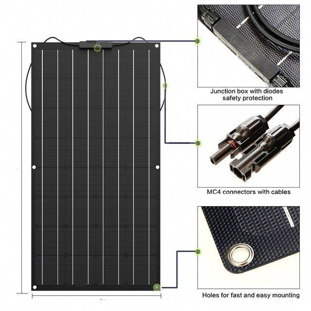 Solar Panel 1000w Etfe Film Coating 10pcs 100w Flexible Solar Panel Solar Cell Monocrystalline 18vdc For In 2020 Solar Panel Charger Flexible Solar Panels Solar Panels