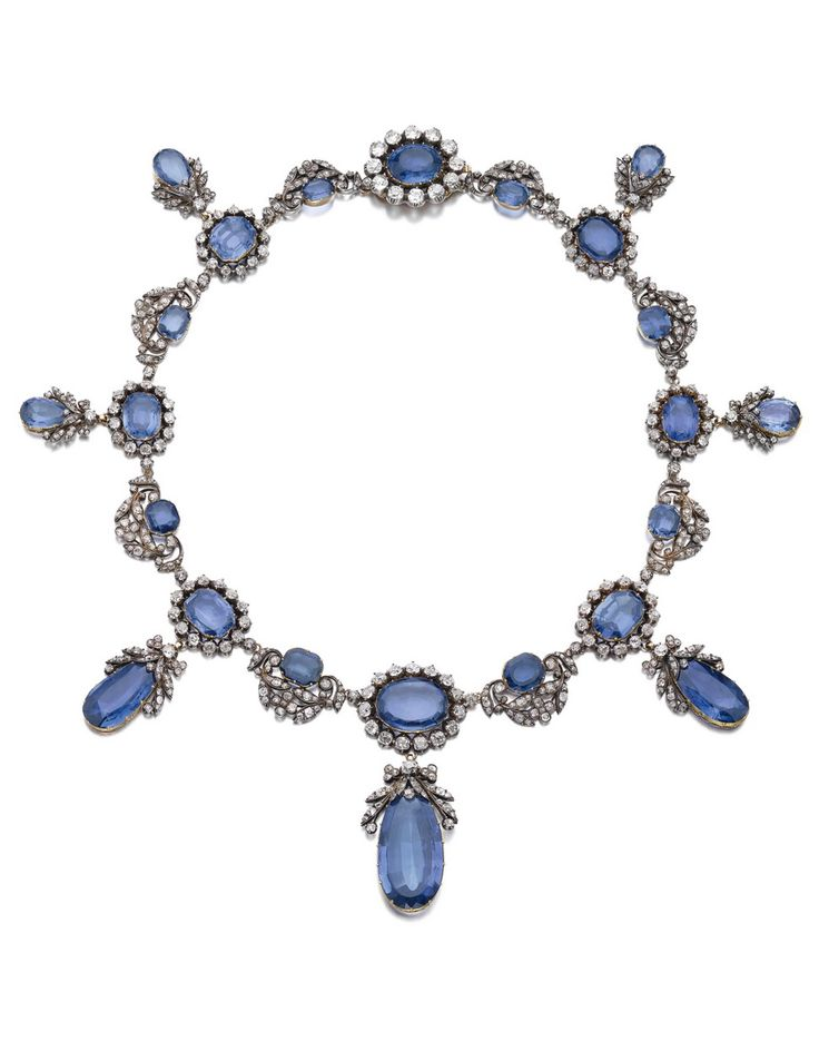 An antique sapphire and diamond necklace, circa 1840, formerly in the collection...