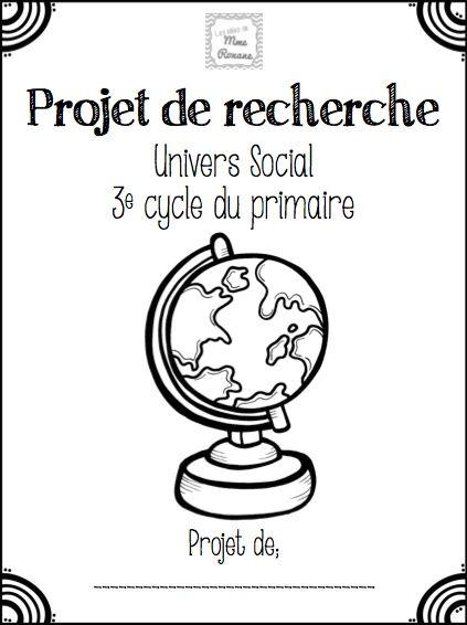 Les idées de Mme Roxane!: Projet de recherche - Univers social