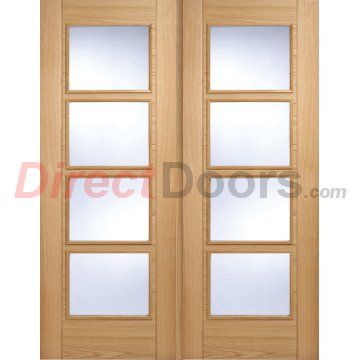 Image of Vancouver Oak 4L Door Pair with Clear Glass and Pre-finished