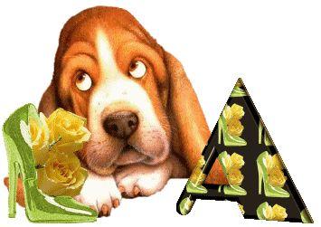 Alfabeto animado de Perro con Ojos Locos.