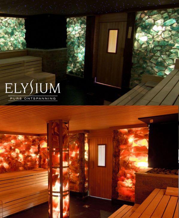 De groene kristalsteensauna (eucalyptus) en de zoutsteensauna bij Wellnessresort Elysium.