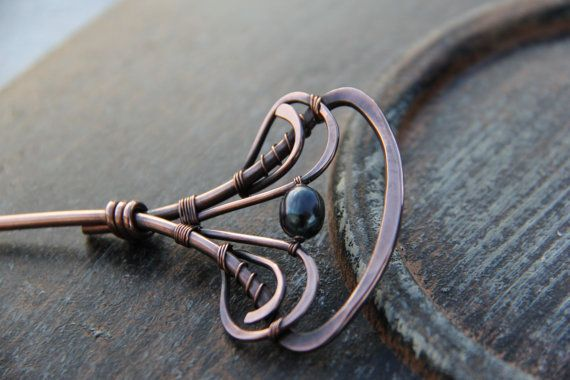 """Hair stick, hair fork, hair pin, Copper and peacock pearl hair stick """"Night by…"""
