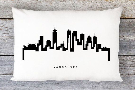 Vancouver Skyline Pillow Cover  Vancouver Cityscape Throw