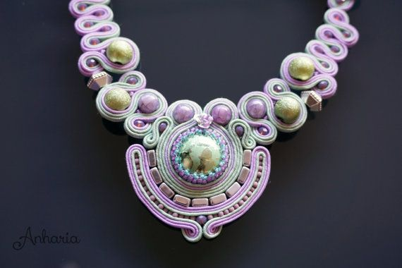 Beautiful Soutache Necklace. Different and Elegant Handmade Jewellery by Anharia