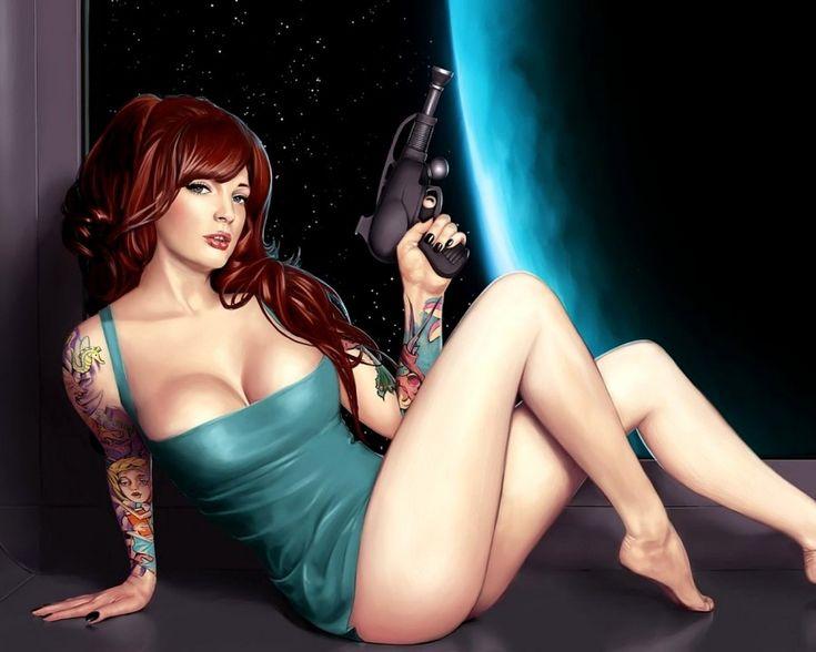 Картинка 900x720 | Картинка арт с девушкой, сидящей на подоконнике с пистолетом | Девушки, фото #картинки#фото#рисунок#арт#девушка#пистолет#оружие#с_пистолетом#тату