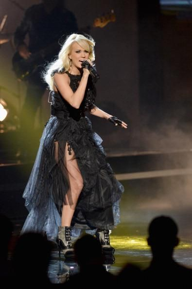 Carrie Underwood wearing RACHAEL CASSAR Eco Couture dress. Carrie Underwood 40th American Music Awards November 18 2012.