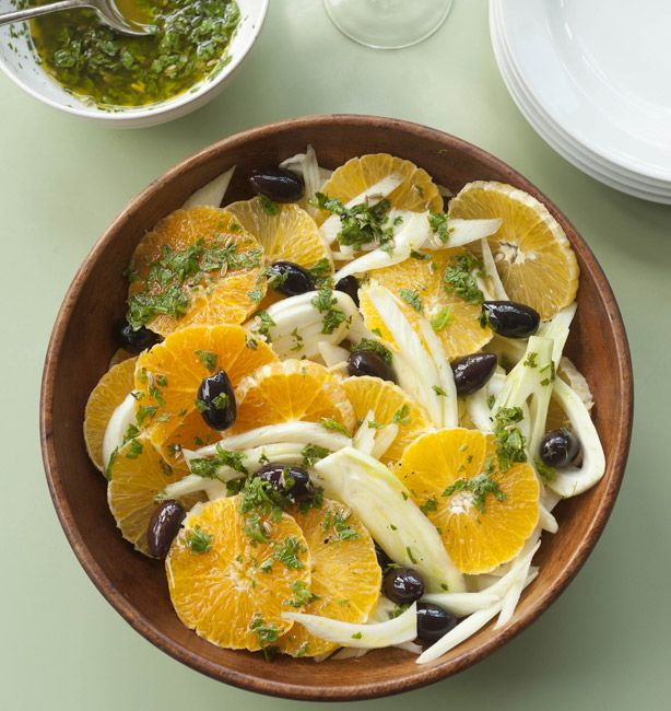 Orange Salad or Insalata di Arance. Orange, Fennel, and roasted olives. This could be interesting.