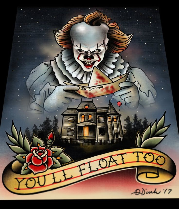 image of pennywise it 2017 tattoo flash art print