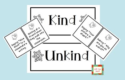 Kind or Unkind Sort Activity FREEBIE!  {firstgradebuddies2.blogspot.com}                                                                                                                                                                                 More