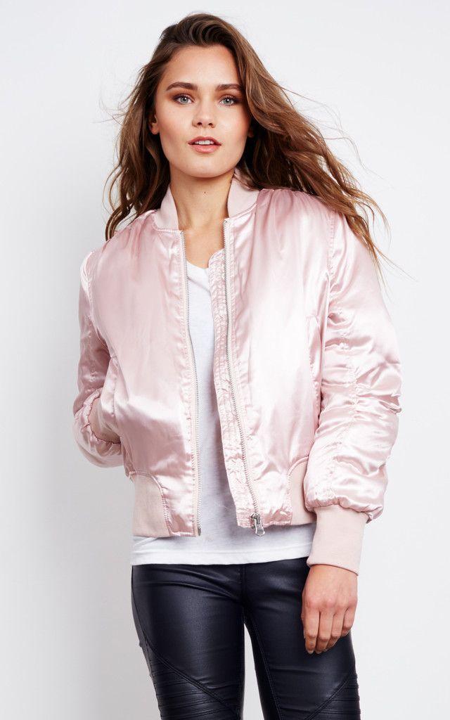 Emma Pink Satin Bomber Jacket - SilkFred