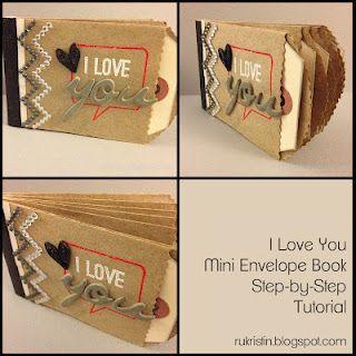 Tutorial.: Scrapbook Ideas, Books Tutorials, Minis Books, Minis Album, Rukristin Papercraft, Envelopes Books, Envelope Book, Envelopes Minis, Minis Envelopes