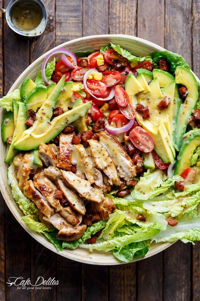 Honey Mustard Chicken, Avocado + Bacon Salad   http://cafedelites.stfi.re