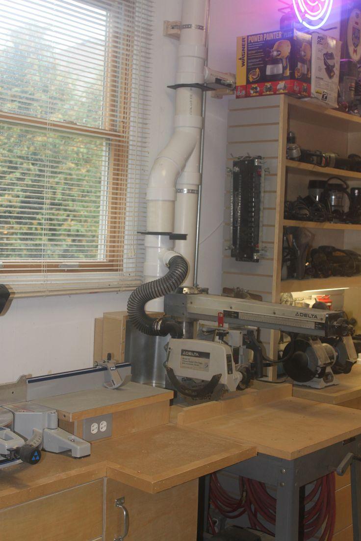 Radial arm    saw    dust collection setup   Workshop   Pinterest   Dust collection and Radial arm    saw