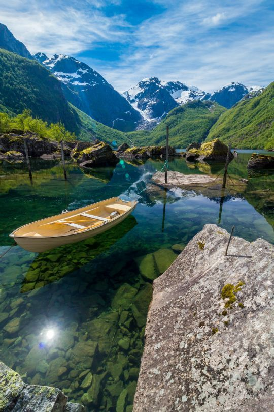 Norway Travel Inspiration - Bondhusdalen - A crystal clear lake fed by glacier, Norway
