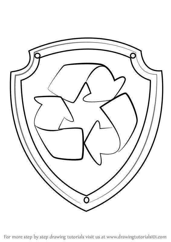 Paw Patrol Badge Black And White Learn how to draw rocky <b>badge</b> from <b>paw patrol</b> (<b>paw patrol</b> ...
