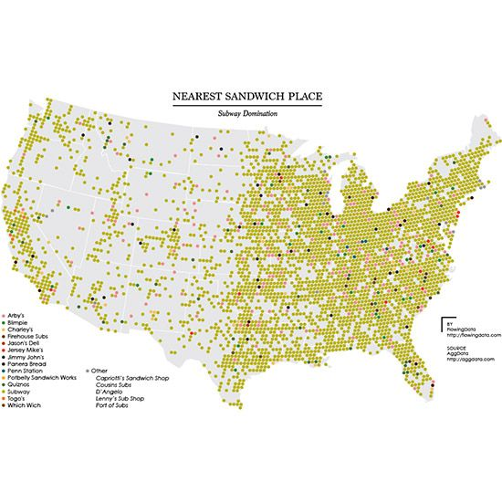 Map: The Most Powerful Sandwich Shop Near You #FWx