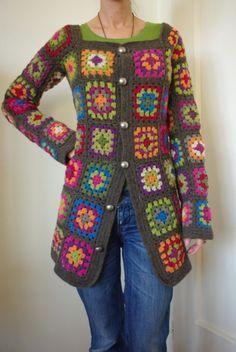 No Pattern. Crochet Granny Square Jacket.