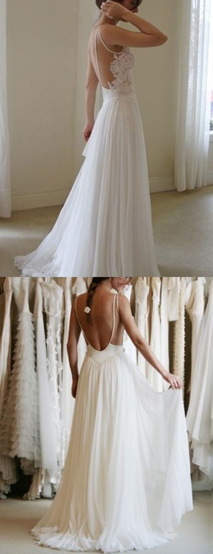 wedding dresses, wedding ideas, open back wedding dress, backless wedding dresses, long chiffon wedding dresses