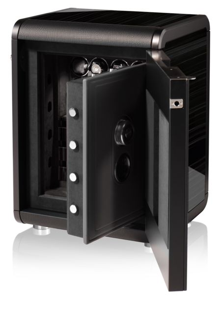The Vanguard Safe in Ebony Grigio - a luxury safe from the House of BUBEN and ZORWEG: The design of the VANGUARD SAFE is perfect in every detail and combines refined aesthetic appeal with the reassuring security of safety class VdS I (German Security Certification). The VANGUARD SAFE offers automatic watches care and protection on 8 TIME MOVER® watch winder, whilst drawers safely accommodate further watches and other items of value. #luxurysafes #homesafes #highendsafes