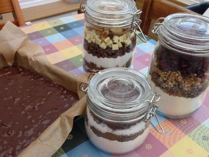 A lovely gift for a friend - a jar containing the main ingredients for chocolate brownies