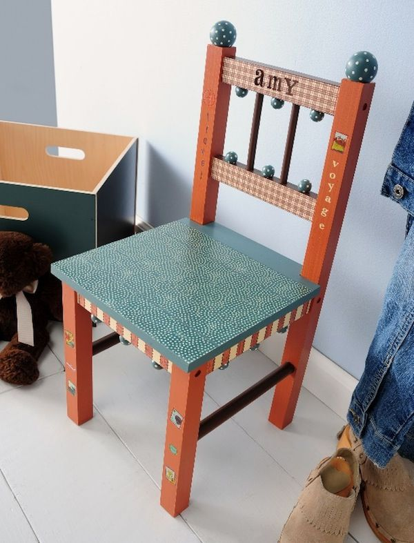 DIY kids chair with Mod Podge, paper and fun paint colors