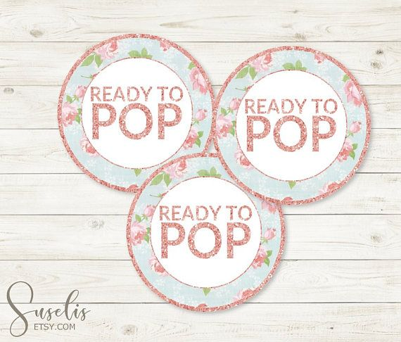 Ready To PopTags Rose Gold Shabby Baby Shower Stickers
