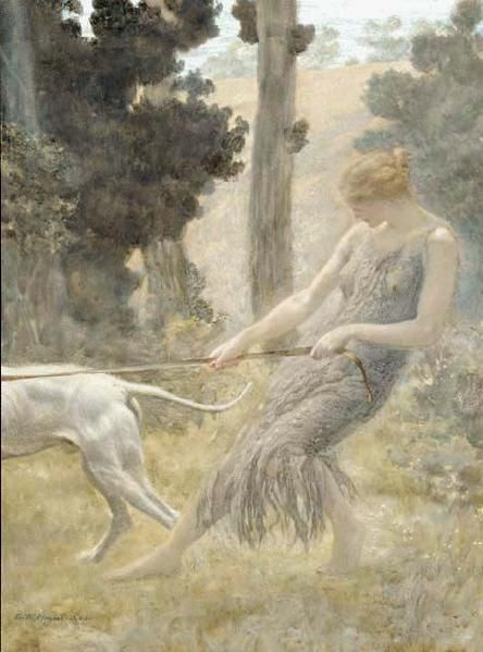 A Woman Walking her Dog - Edward Robert Hughes