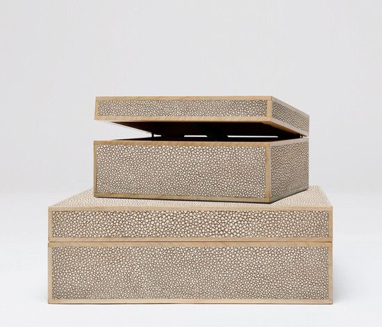 "Cooper boxes in Sand from Made Goods.  Also available in Ivory, Scarlet, Dk Mushroom, Turquoise, and Cool Gray.  Sold as a set of two.  Faux shagreen trimmed in wood.  9""L x 7""W x 4""H, 12.5""L x 10""W x 4.5""H"