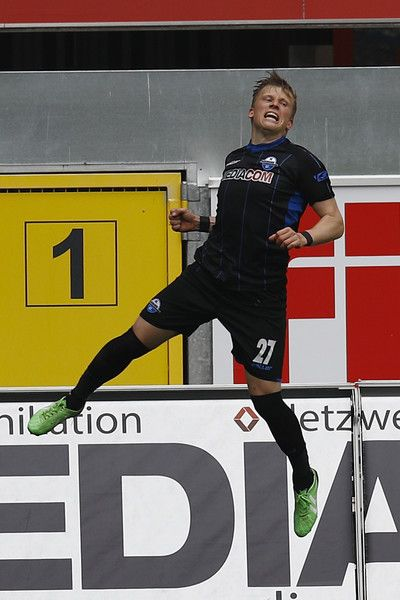 Marcus Piossek of Paderborn celebrate his Goal 2:0 during the third league match between SC Paderborn and FSV Frankfurt at Benteler Arena on April 8, 2017 in Paderborn, Germany.