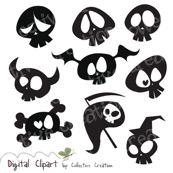 Cute Cartoon Skull Silhouette Clipart Digital Clip Art- Ideal for Scrapbooking, Card Making Cupcake Toppers and Paper Crafts