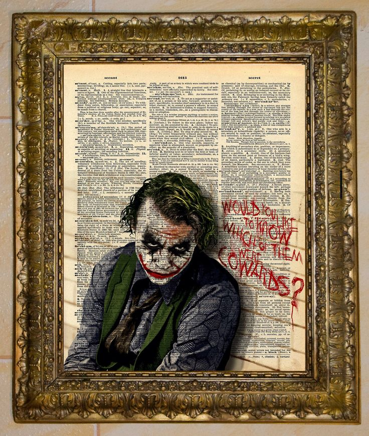 The Joker Heath Ledger Dictionary Art by atthedrivein on Etsy https://www.etsy.com/listing/99428133/the-joker-heath-ledger-dictionary-art