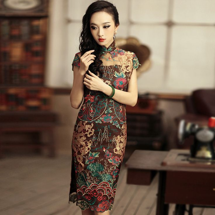 Scenic Embroidered Cheongsam