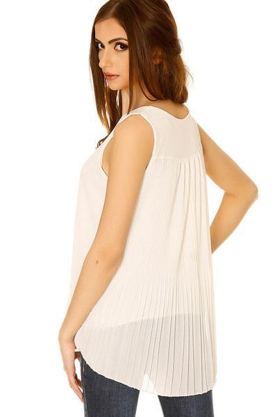 Top fluide blanc sans manches voilage plissé au dos. Top tendance - 3340 11.9 € HT chez Grossiste-en-ligne.com. Service client gratuit au 0161308967.