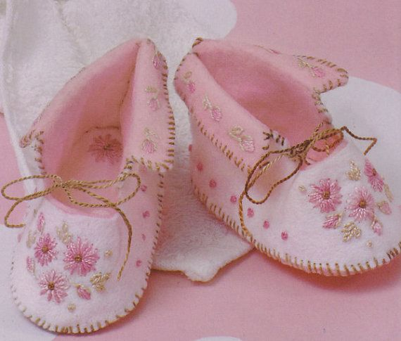 BABY bootees felt with hand embroidery PDF PATTERN & instructions hand embroidered felt baby shoes pattern on Etsy, $8.00