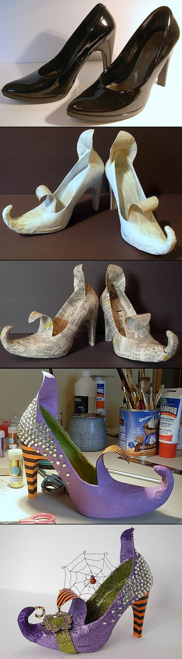 DIY witches shoes- certainly could scale down to kid size too (or could use same idea for elf shoes)