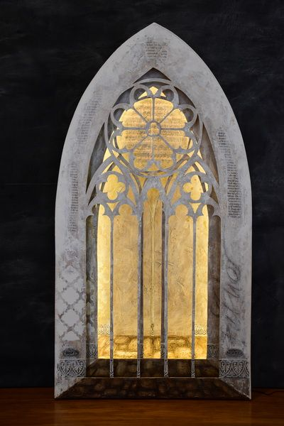 Gothic arches, a 3D artwork that blurs the borders between sculpture, painting and mixed media, 95x50x9cm, Antoinette Karsten
