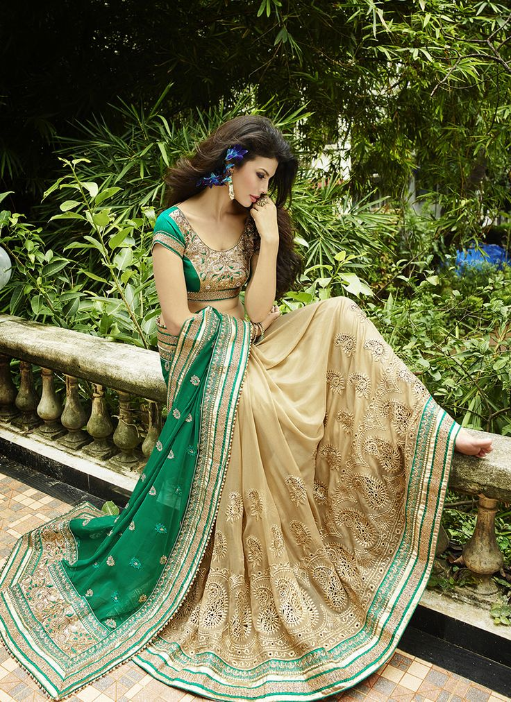 #Beige & #Green Colour #Net & #Georgette #Saree. Lovely #floral #embroidery and #exotic #colours come together to define this #beautiful #saree.  Contact to Buy : +91-9377111620
