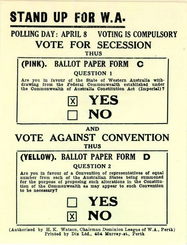 How would you have voted in the Succession Referendum of 1933? https://encore.slwa.wa.gov.au/iii/encore/record/C__Rb1837522