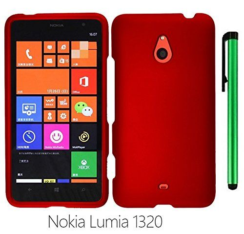 """Buy Nokia Lumia 1320 (6"""" Windows Phone 8 device; US Carrier : Cricket) Phone Case - Premium Design Protector Hard Snap-On Cover Case + 1 of New Metal Stylus Touch Screen Pen (RED) NEW for 8.77 USD 