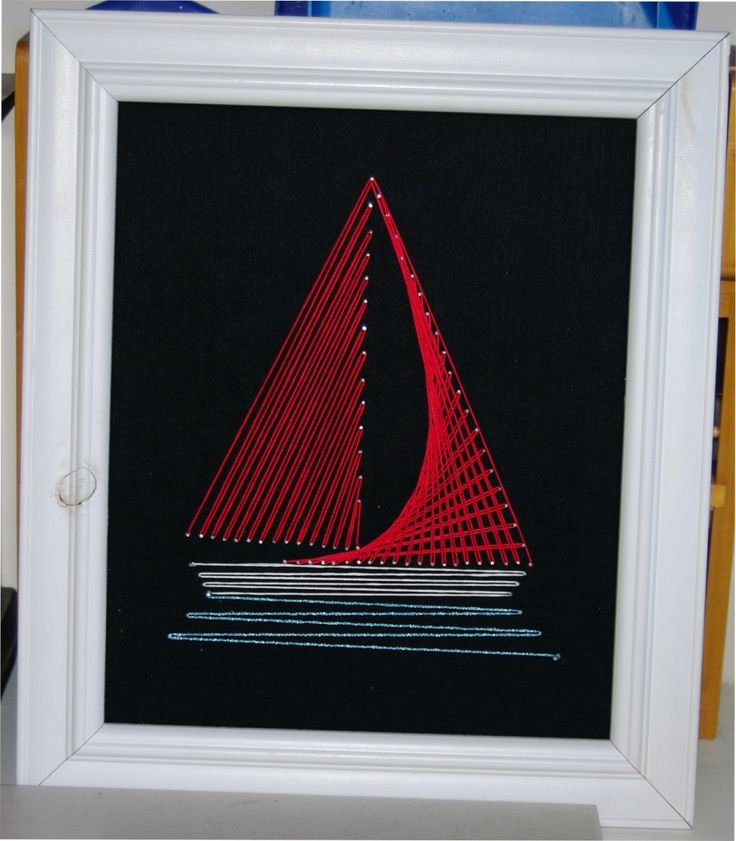 retro - DIY craft - string art sailboat.. pattern from String art fun (this was surprisingly easy and satisfying!)